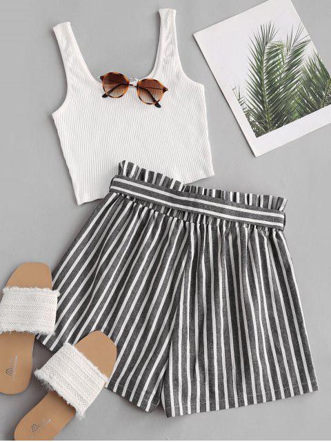 latest Ribbed Tank Top and Striped Print Paperbag Shorts Set - WHITE XL Mobile