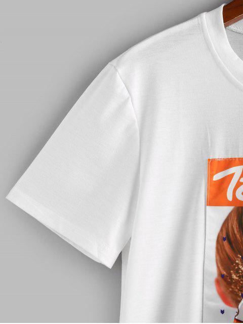 Camiseta de Figura Gráfica com Laço - Branco S Mobile