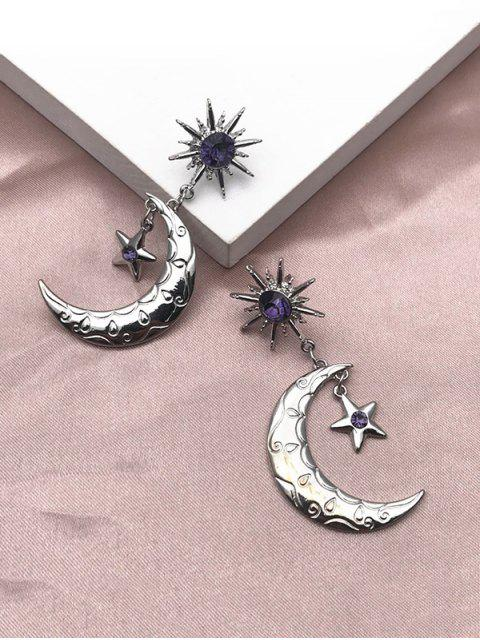 Rhinestone Sun Moon Star Shape Drop Earrings - فضة  Mobile