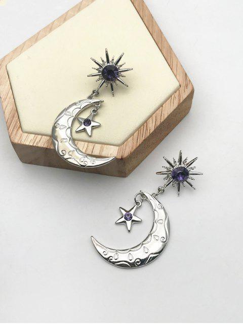 Pendientes de Gota de Forma de Estrella de Luna de Diamantes de Imitación - Plata  Mobile