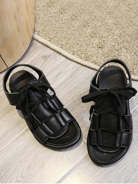 unique Pure Color Casual Lace Up Sandals - BLACK EU 40 Mobile