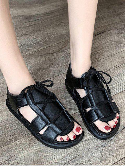chic Pure Color Casual Lace Up Sandals - BLACK EU 38 Mobile