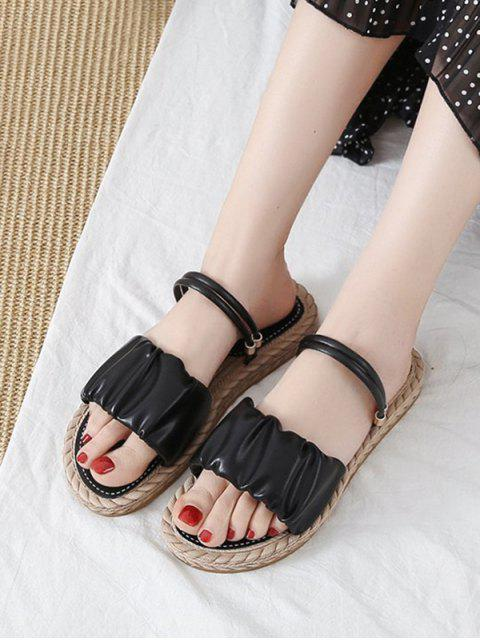 ladies Ruched Leather Convertible Strap Flat Sandals - BLACK EU 38 Mobile