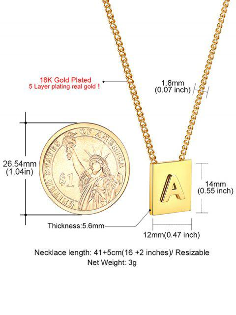 buy Stainless Steel 18K Gold Plated Square Initial Necklace - GOLDEN A Mobile