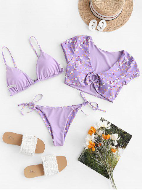 shops ZAFUL Floral Ring Reversible Three Piece Swimsuit - LIGHT PURPLE M Mobile