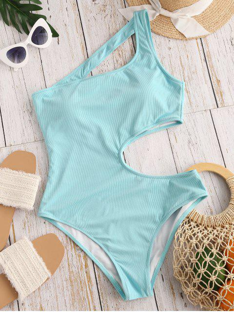 new ZAFUL Irregular Beauty Cutout Ribbed One-piece Swimsuit - LIGHT BLUE S Mobile