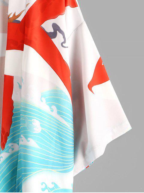 unique Dolphin Ocean Waves Print Oriental Kimono Cardigan - MEDIUM TURQUOISE 2XL Mobile