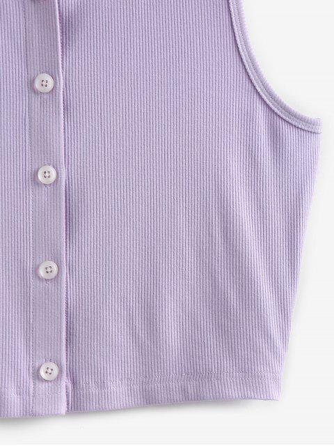 ZAFUL Haut Court Simple Côtelé en Tricot - Violet clair M Mobile