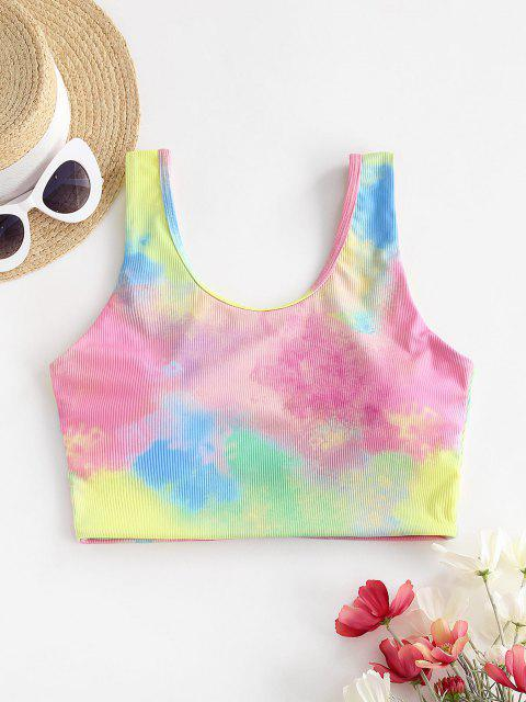ZAFUL Tie Dye Ribbed Tankini Top - وردي فاتح S Mobile