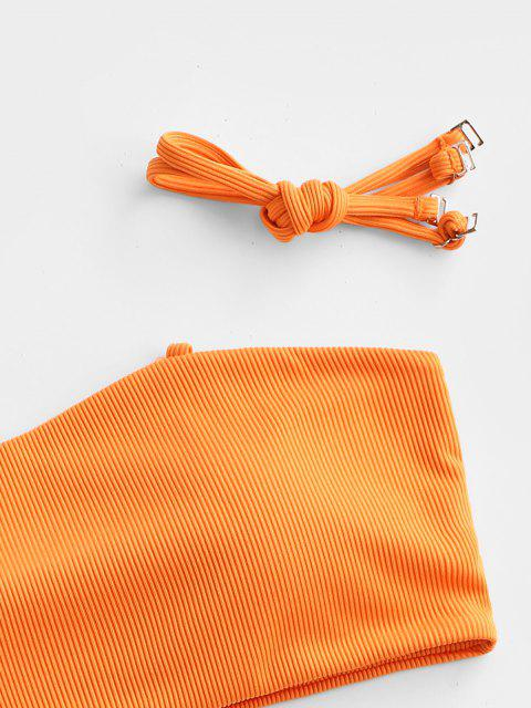 online ZAFUL Ribbed Bandeau Bikini Swimwear - DARK ORANGE S Mobile