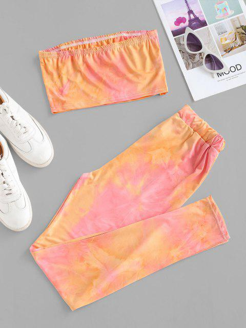 online Tie Dye Bandeau Drawstring Two Piece Set - LIGHT PINK S Mobile