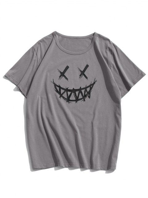 Happy Face Graphic Casual Short Sleeve T Shirt - الرمادي الداكن L Mobile