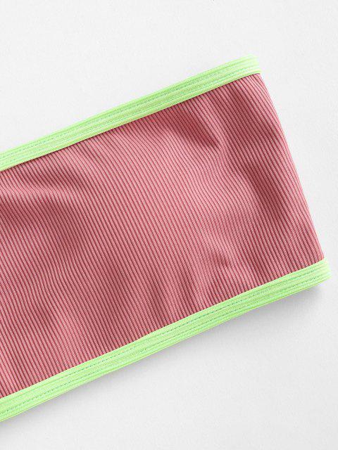 ZAFUL Gerippte Bandeau Bikini Badebekleidung - Hell-Pink S Mobile