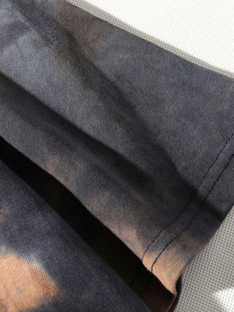 buy Tie Dye Printed Short Sleeves T-shirt - BROWN SUGAR XS Mobile