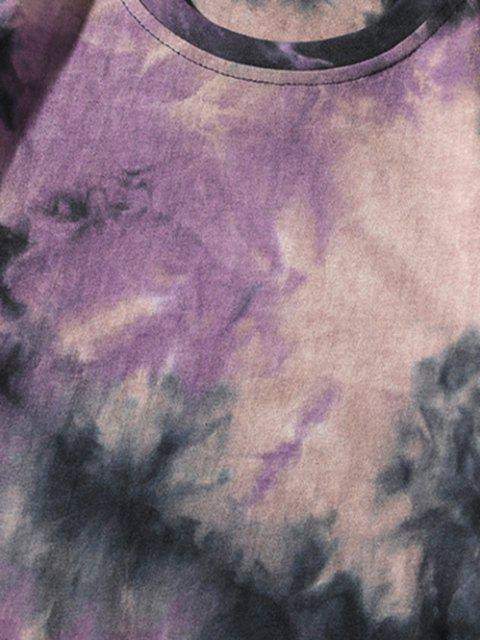 Tie Dye Printed Short Sleeves T-shirt - وردة بنفسجية XL Mobile