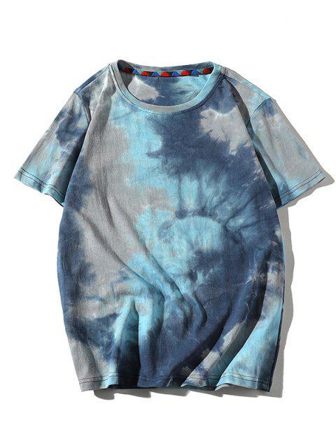 fashion Tie Dye Printed Short Sleeves T-shirt - BLUE ZIRCON S Mobile