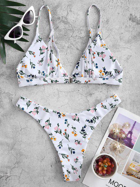unique ZAFUL Floral Strappy High Leg Cami Bikini Swimwear - WHITE M Mobile