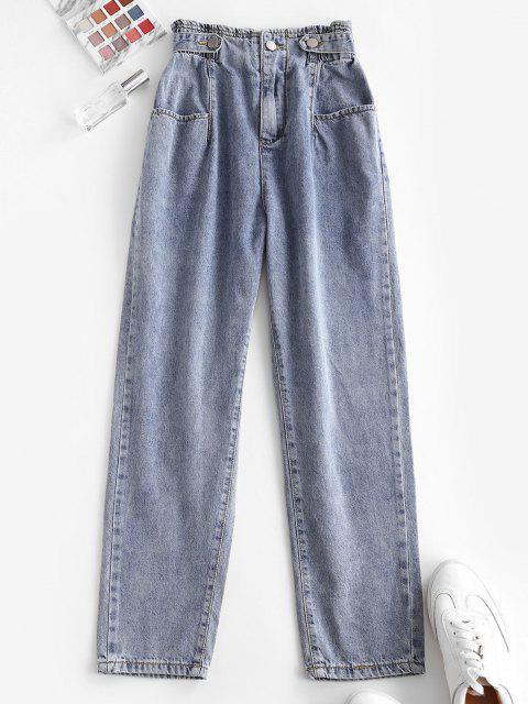 Jeans Ajustado Cintura Alta y Bolsillos - Azul L Mobile