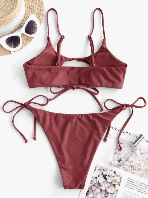 ZAFUL Maillot de Bain Bikini Tanga Découpé Noué - Rouge foncé S Mobile
