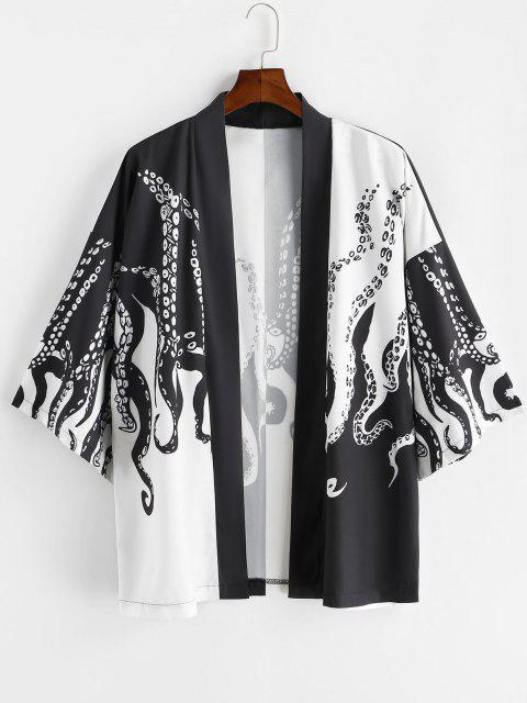 shops Open Front Octopus Print Vacation Kimono Cardigan - BLACK XL Mobile