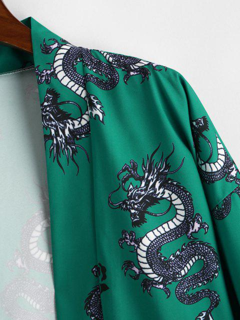 lady Dragon Flower Print Open Front Kimono Cardigan - CLOVER GREEN M Mobile
