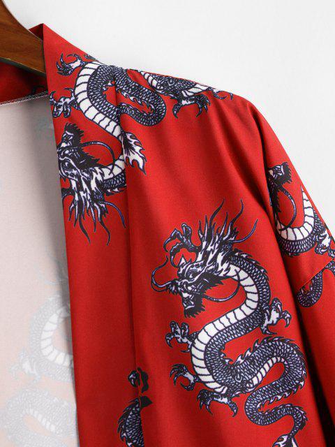 trendy Dragon Flower Print Open Front Kimono Cardigan - LAVA RED M Mobile