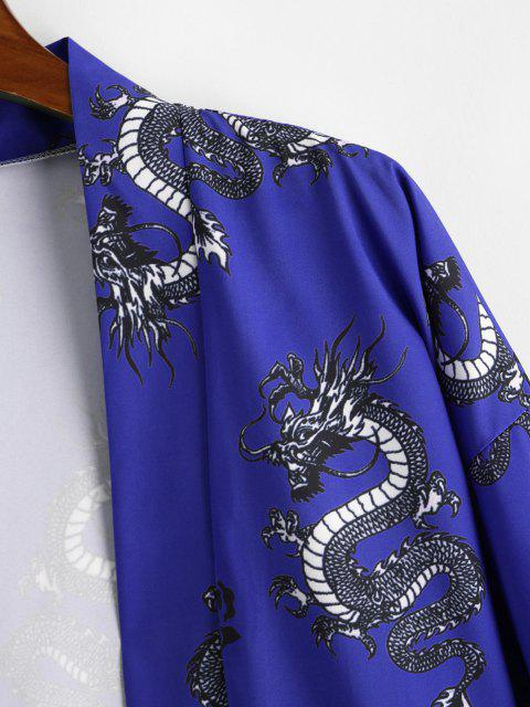 affordable Dragon Flower Print Open Front Kimono Cardigan - COBALT BLUE XL Mobile