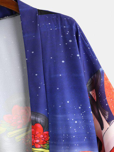 buy Geisha Printed Oriental Kimono Cardigan - LAPIS BLUE L Mobile