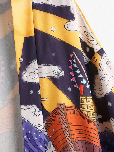 lady Ocean Waves Boat BBQ Print Open Front Kimono Cardigan - LAPIS BLUE L Mobile
