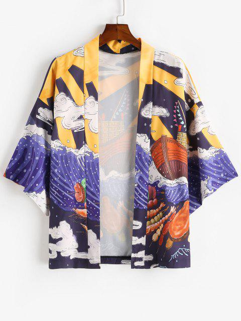 fashion Ocean Waves Boat BBQ Print Open Front Kimono Cardigan - LAPIS BLUE XL Mobile