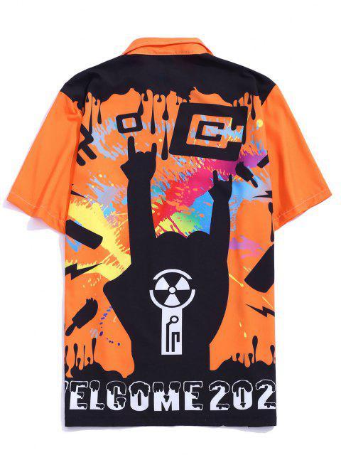 online Graffiti Paint Welcome 2020 Print Button Up Shirt - BRIGHT ORANGE XL Mobile