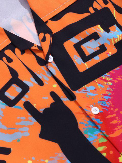 trendy Graffiti Paint Welcome 2020 Print Button Up Shirt - BRIGHT ORANGE L Mobile