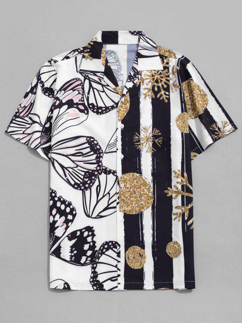 fancy Snowflake and Butterfly Print Vacation Shirt - WHITE S Mobile