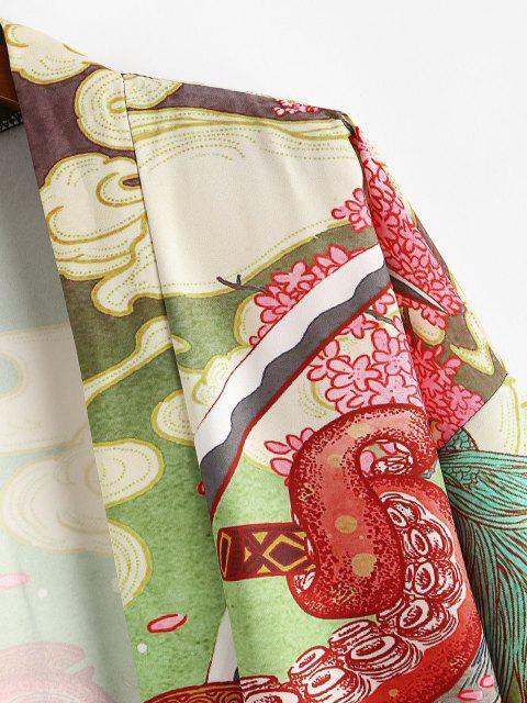 Cardigan Kimono Ouvert en Avant Octopus Poisson Imprimé - Rouge Lave L Mobile
