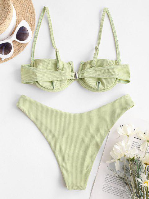 outfit ZAFUL Subtle Taste Ribbed Balconette Bikini Swimwear - LIGHT GREEN M Mobile