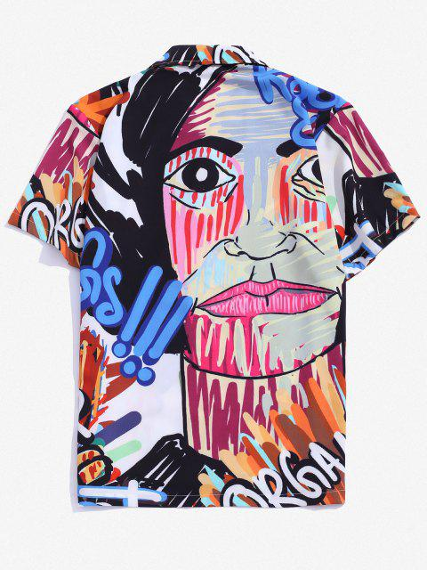 ladies Graffiti Graphic Print Button Down Shirt - BLUEBERRY BLUE L Mobile