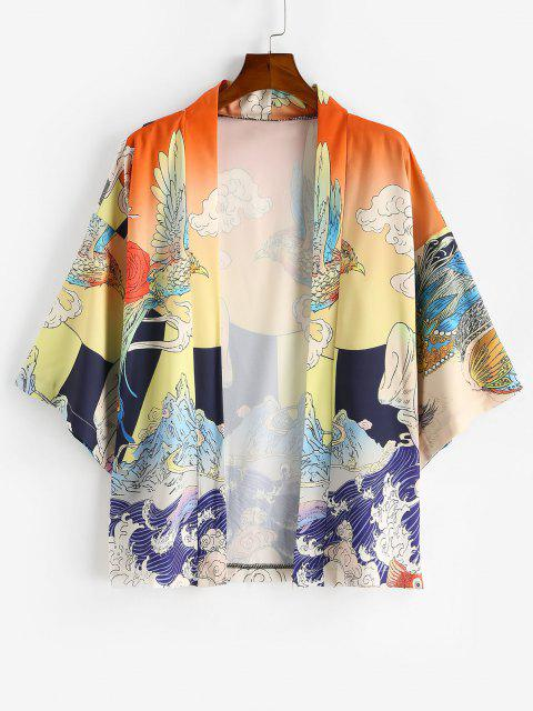 Cardigan di Chimono con Grafica di Onde Oceaniche - Fiore Giallo 2XL Mobile