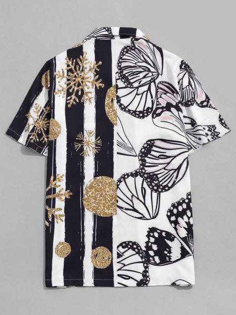 affordable Snowflake and Butterfly Print Vacation Shirt - WHITE M Mobile