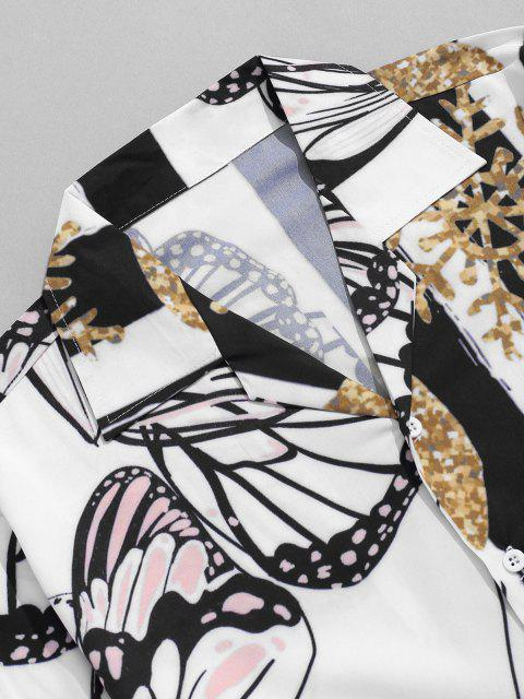 hot Snowflake and Butterfly Print Vacation Shirt - WHITE L Mobile