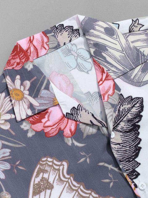 Schmetterlings und Blumendruck Urlaub Hemd - Marmor Blau 2XL Mobile