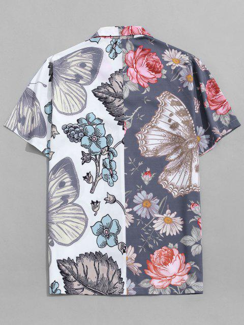Butterfly and Flower Print Vacation Shirt - الرخام الأزرق S Mobile