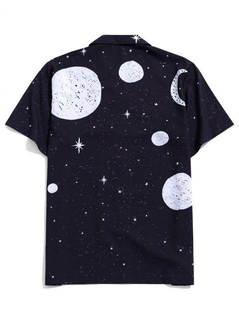 chic Sun Moon And Star Pattern Shirt - BLACK XL Mobile