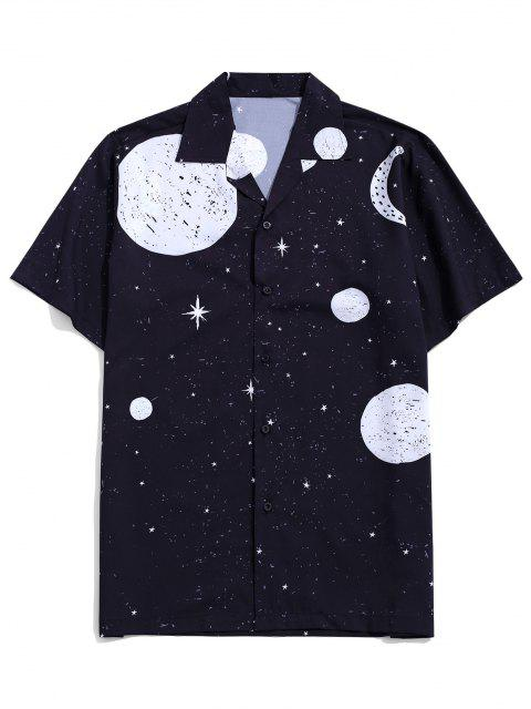 ladies Sun Moon And Star Pattern Shirt - BLACK S Mobile