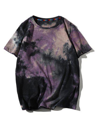Tie Dye Printed Short Sleeves T-shirt - Purple Flower L