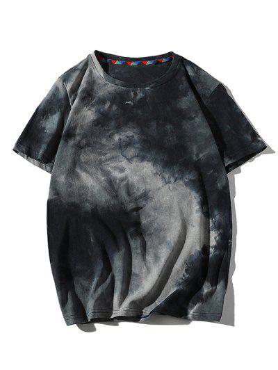 Tie Dye Printed Short Sleeves T-shirt - Cadetblue L