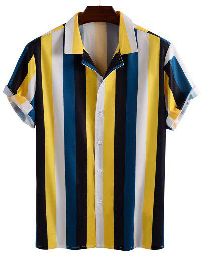 Color Blocking Stripes Button Up Shirt - Yellow M