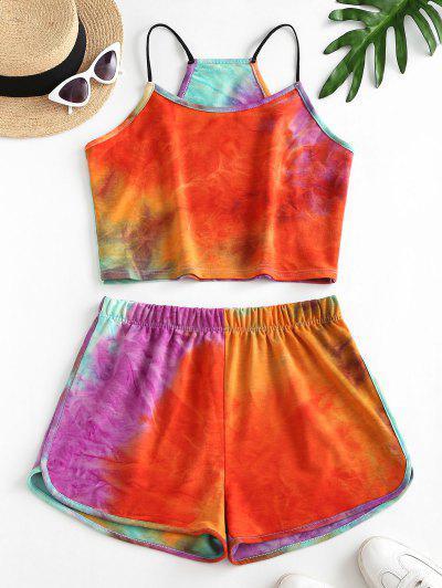 Regenbogen Krawattenfärbende Top Und Shorts Set - Orange M