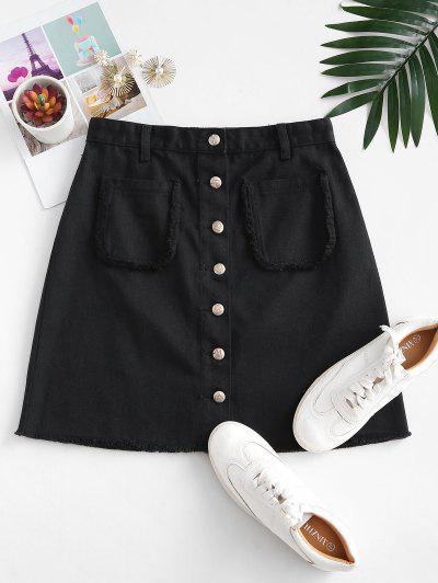 Button Up Frayed Hem Denim Skirt - Black L