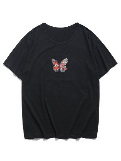 Camiseta Suelta Floral Manga Corta - Negro M