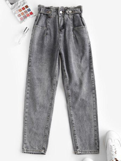 High Waist Pockets Tapered Jeans - Gray S